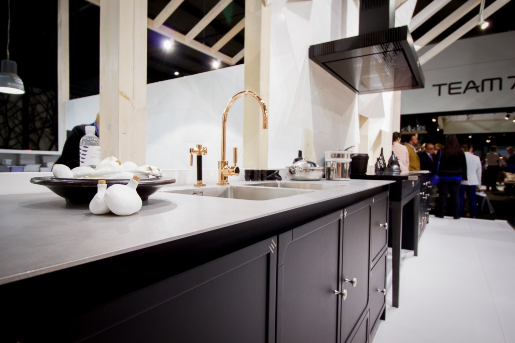 Ultra-thin countertops are in fashion. Check out Caesarstone's 13mm tops to get the look.
