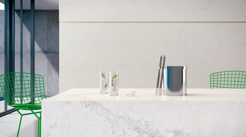 Don't be afraid to introduce colour into your home. Caesarstone's 5130 surface