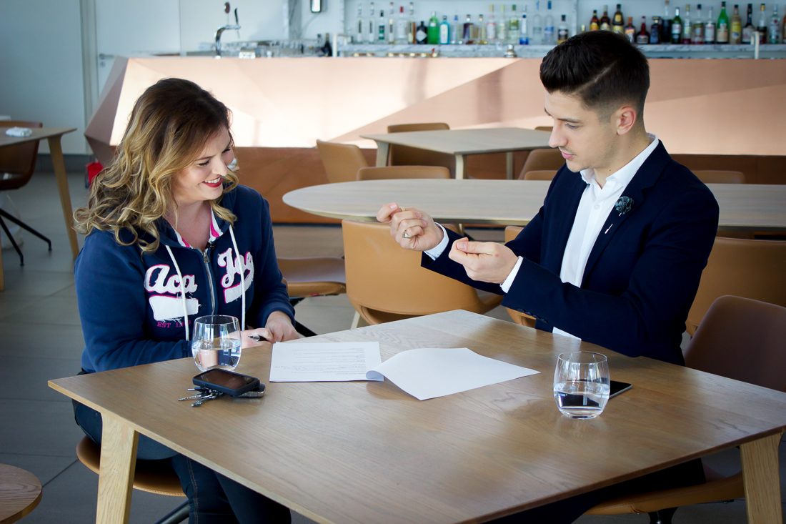 Presenters, Lisa Aspeling and Danilo Acquisto, discuss the script and make last minute changes before shooting the first presenter introduction of the series.