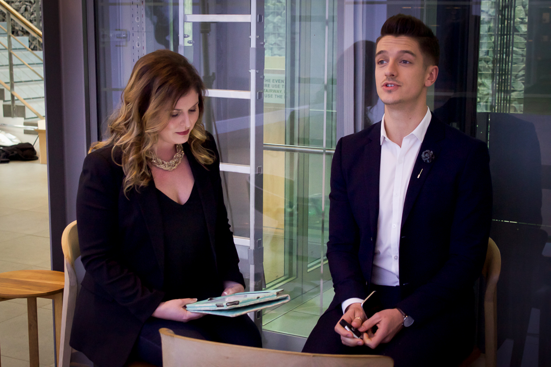 """Hurry up and wait"" is a common phrase bandied about on set. Here, presenters Lisa Aspeling and Danilo Acquisto wait off camera until they're needed for Episode 1's closing sequence."
