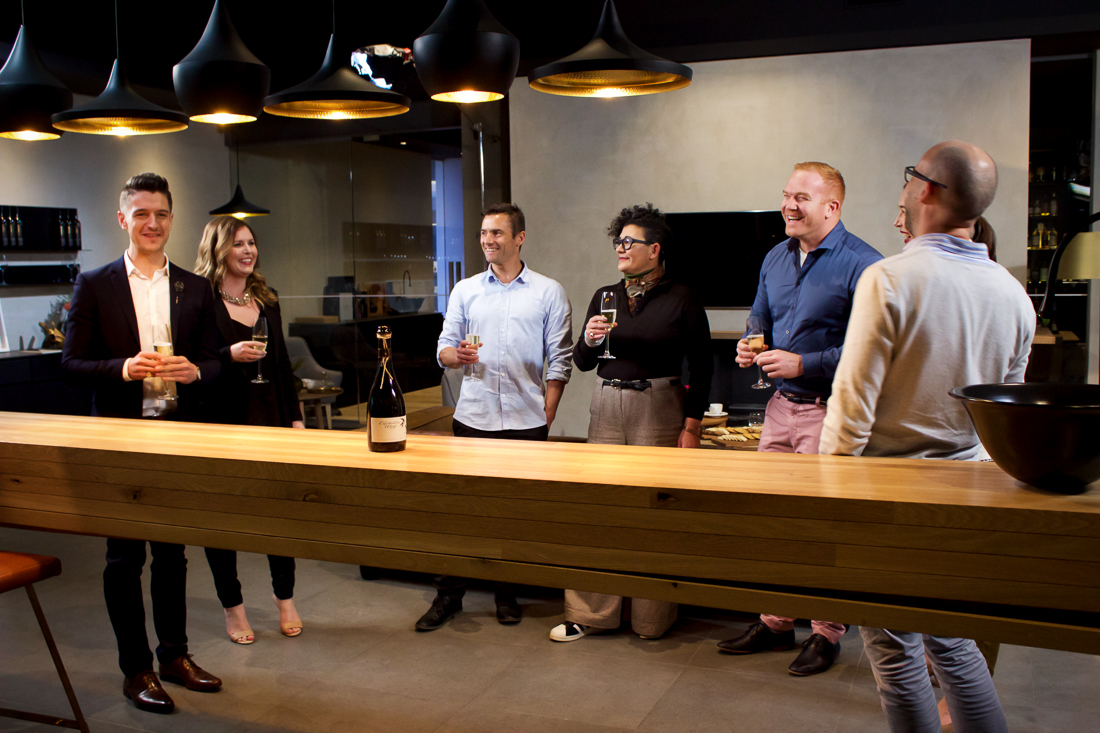 The presenters and judges performed this scene several times - the hardest part was resisting drinking their sparkling wine!