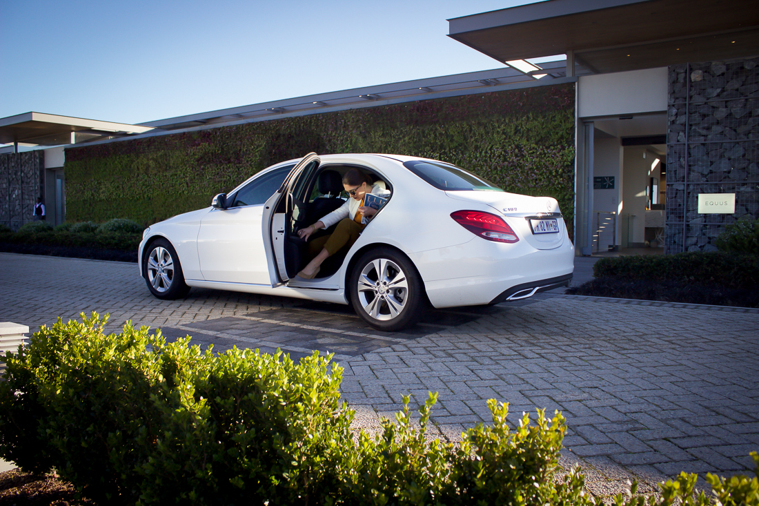The two most important styling items in this shot? The Mercedes Benz and the Elle Decoration magazine!