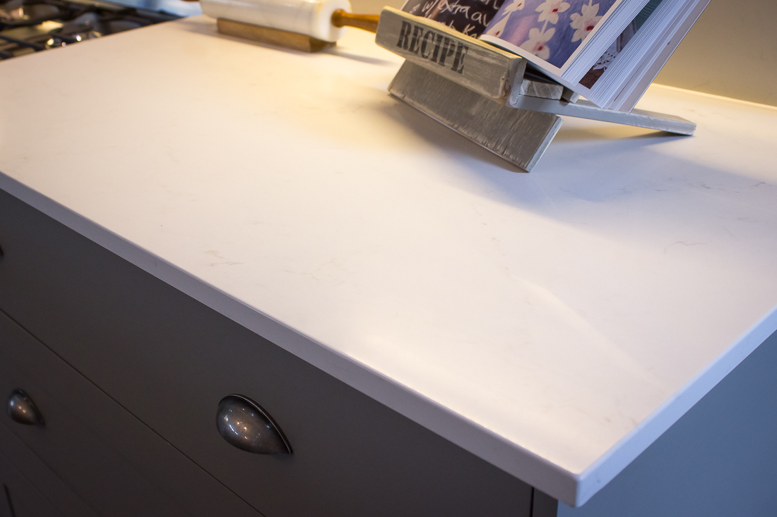 Frosty Carrina with its marble-inspired patterning was the Caesarstone design that Marisa absolutely fell in love with.