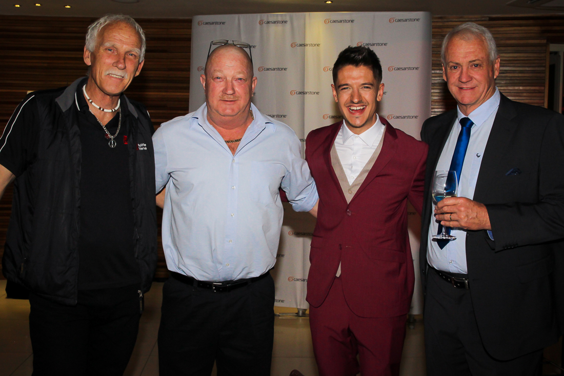Marketing director for Easylife Kitchens, John Dammerman, CEO of International Slab Sales, Rudi Eggers, TV personality and MC, Danilo Acquisto and Caesarstone Marketing Director, Trevor King.