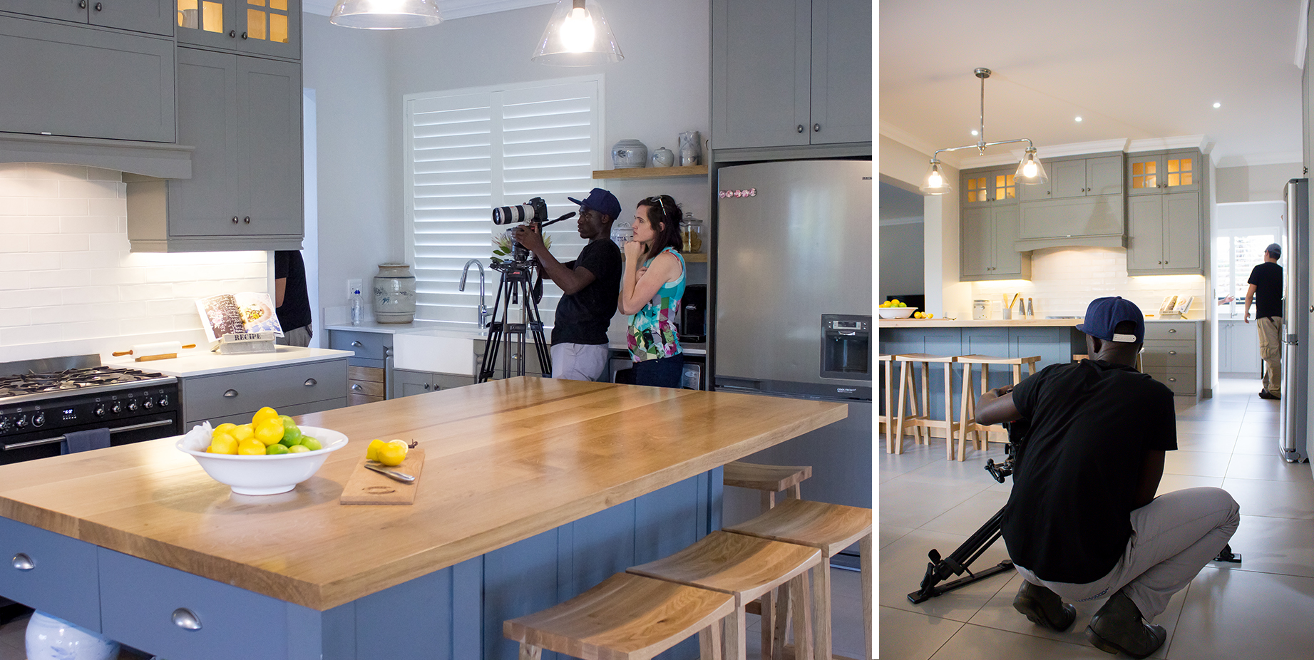 The film crew and director hard at work shooting close ups of the kitchen.