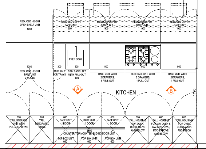 The main kitchen floor plan for Mrs Claassen's kitchen.