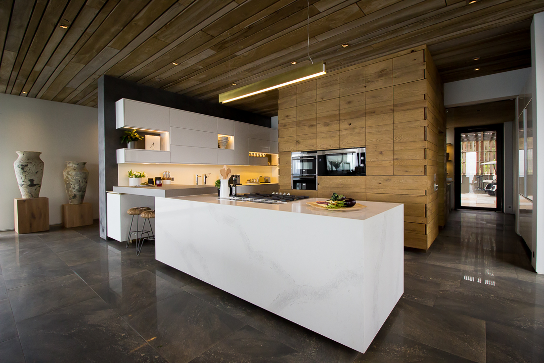 The best view of the Calacatta Nuvo Caesarstone cladded island.