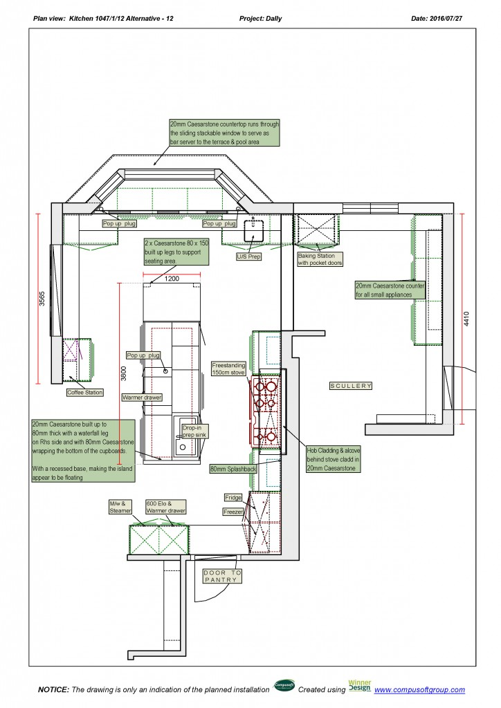 The plans for the Dally kitchen offer a better look at how vast this kitchen space really is!