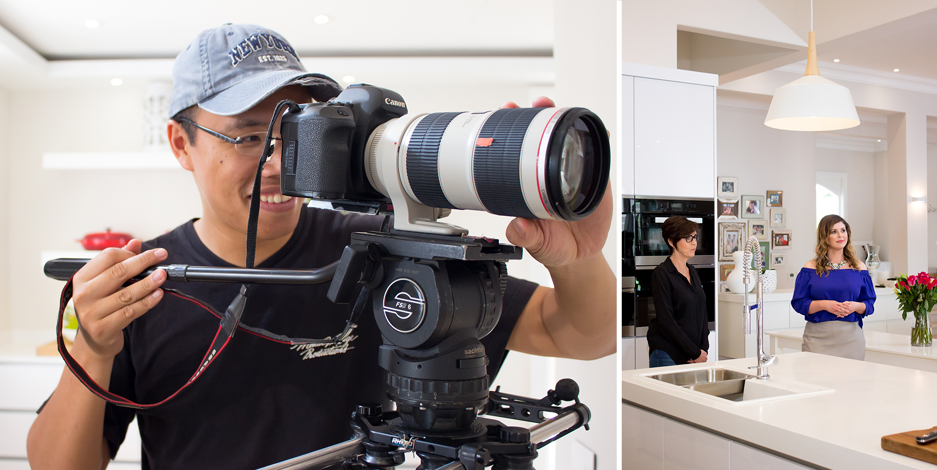 Our expert cameraman in action, filming Caesarstone presenter, Lisa Aspeling's interview with designer, Kim Hansen.