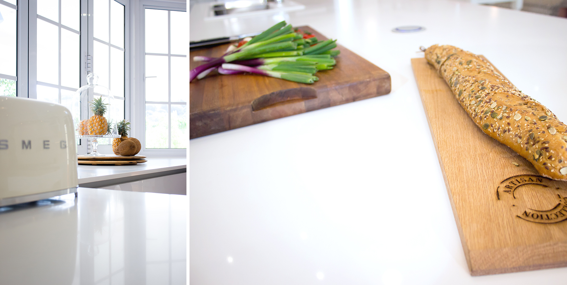 Pristine Pure White Caesarstone quartz surfaces provide the perfect countertops for durability and aesthetic appeal.