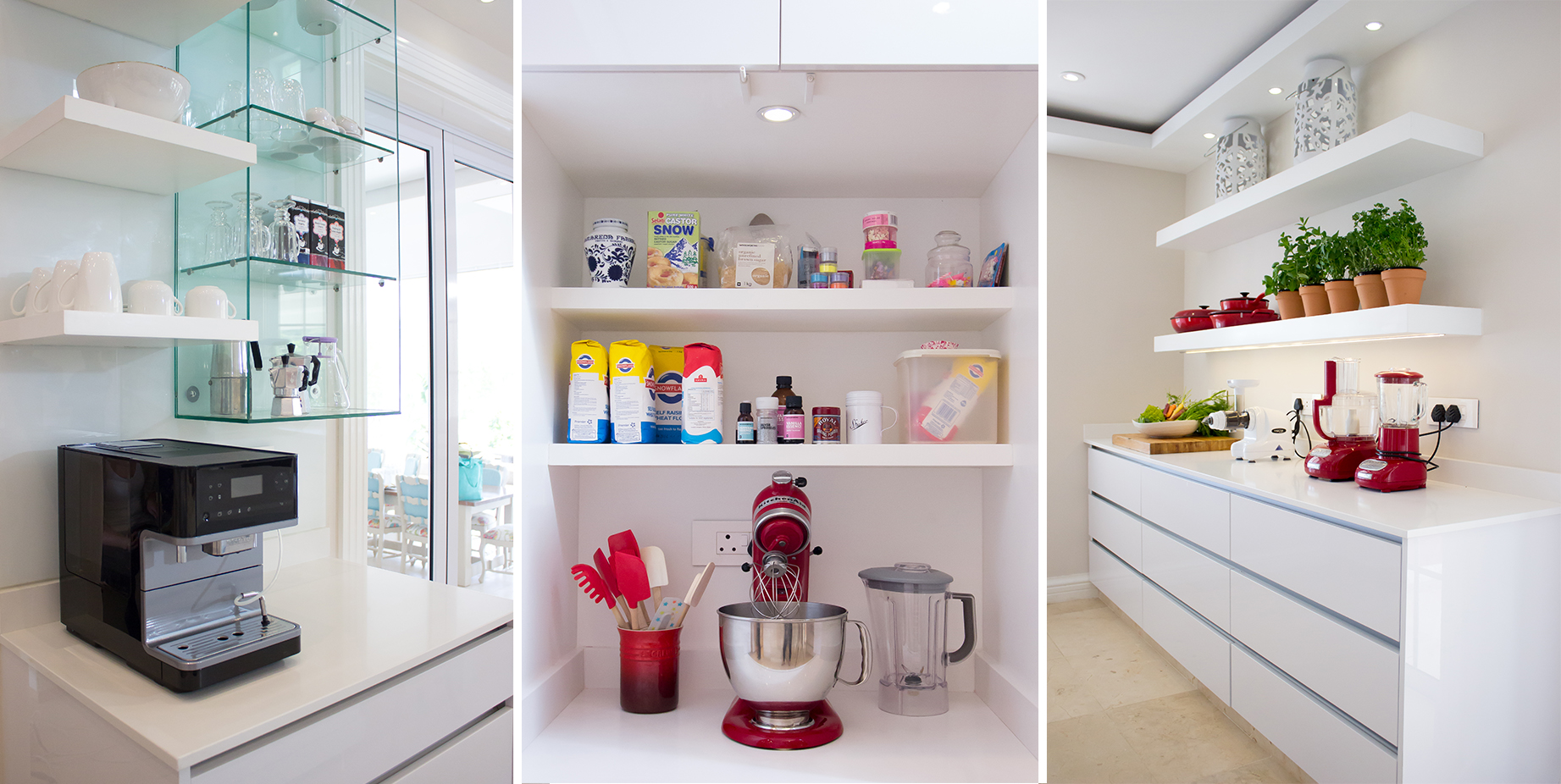 The coffee zone, baking zone and small appliance zone are featured here, along with gorgeous KitchenAid appliances.