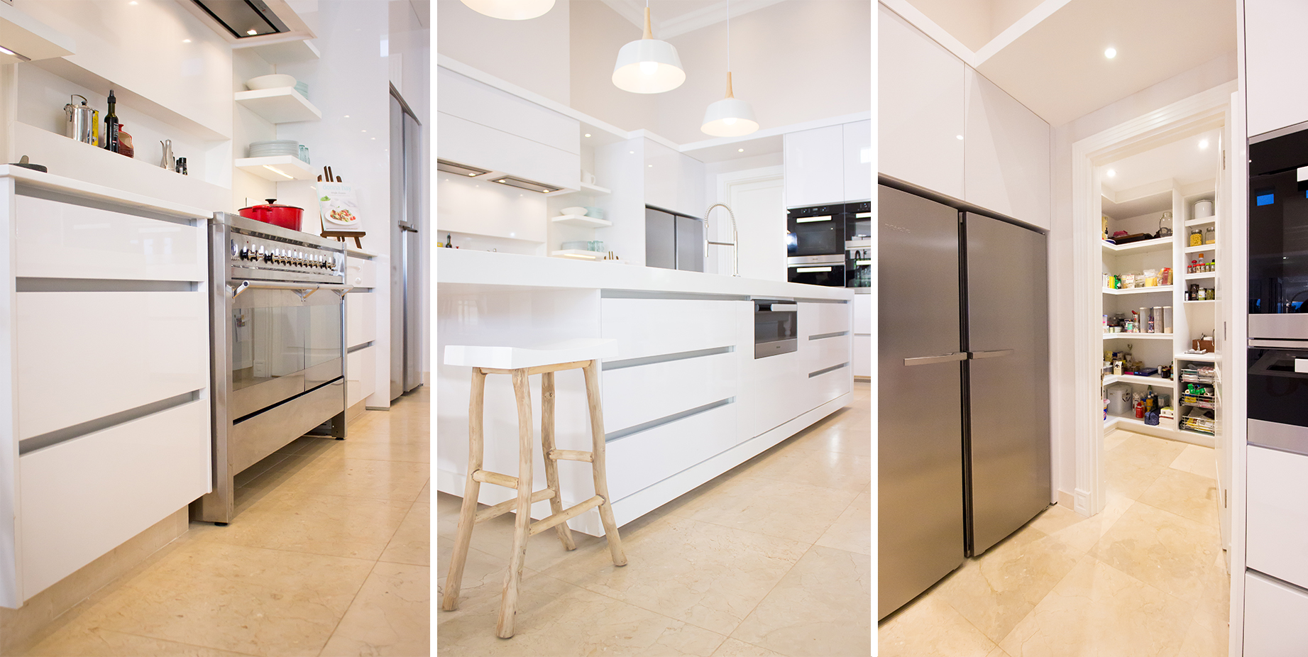 High gloss, white cabinetry, stainless steel appliances and polished Caesarstone help to complete this glamorous look.
