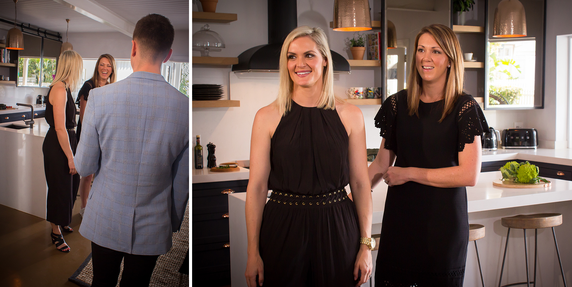 Kim Rowan and Wendy Douglas during the greeting scene in Episode 7 of the Caesarstone Kitchen of the Year competition filming.