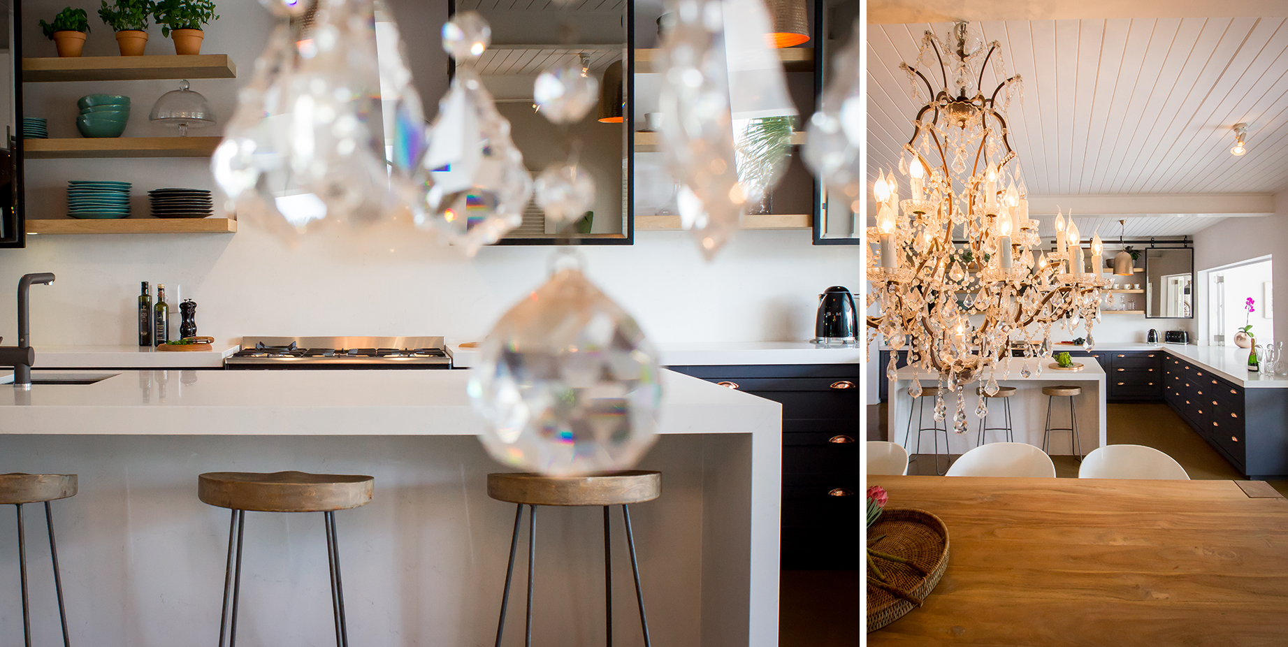One of Kim's favourite design elements are the rolling bronze mirrors that help to reflect the light from outside. Striking feature lighting also helps to create a glamorous look and feel in the space.