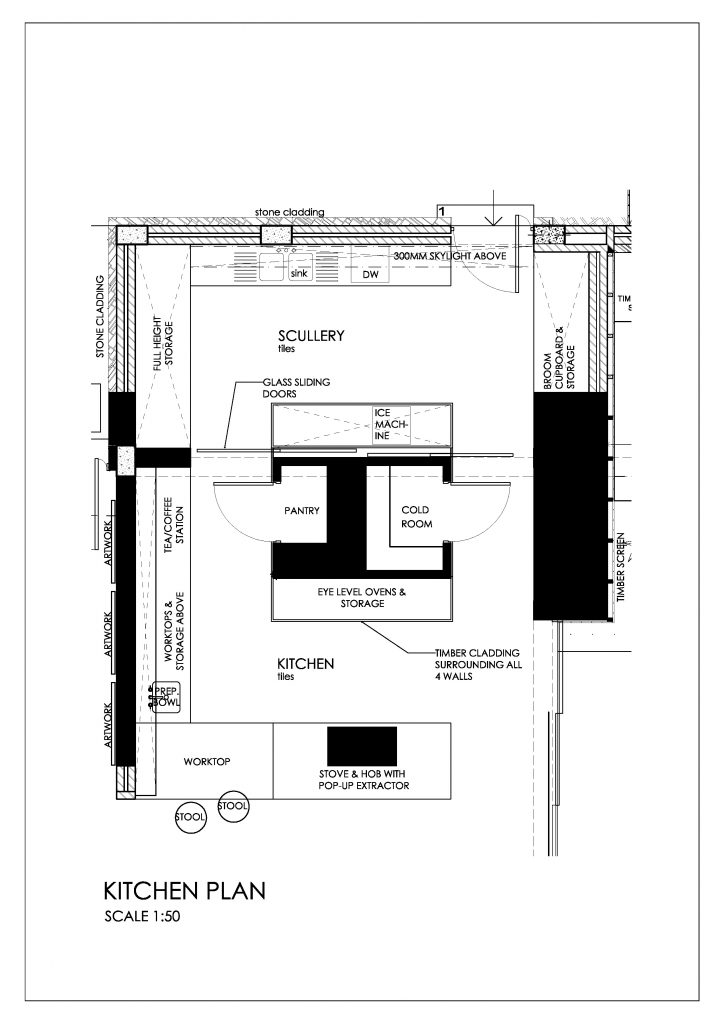 The plans for this stunning kitchen design show the exact layout of the scullery hidden behind the front-of-house kitchen.