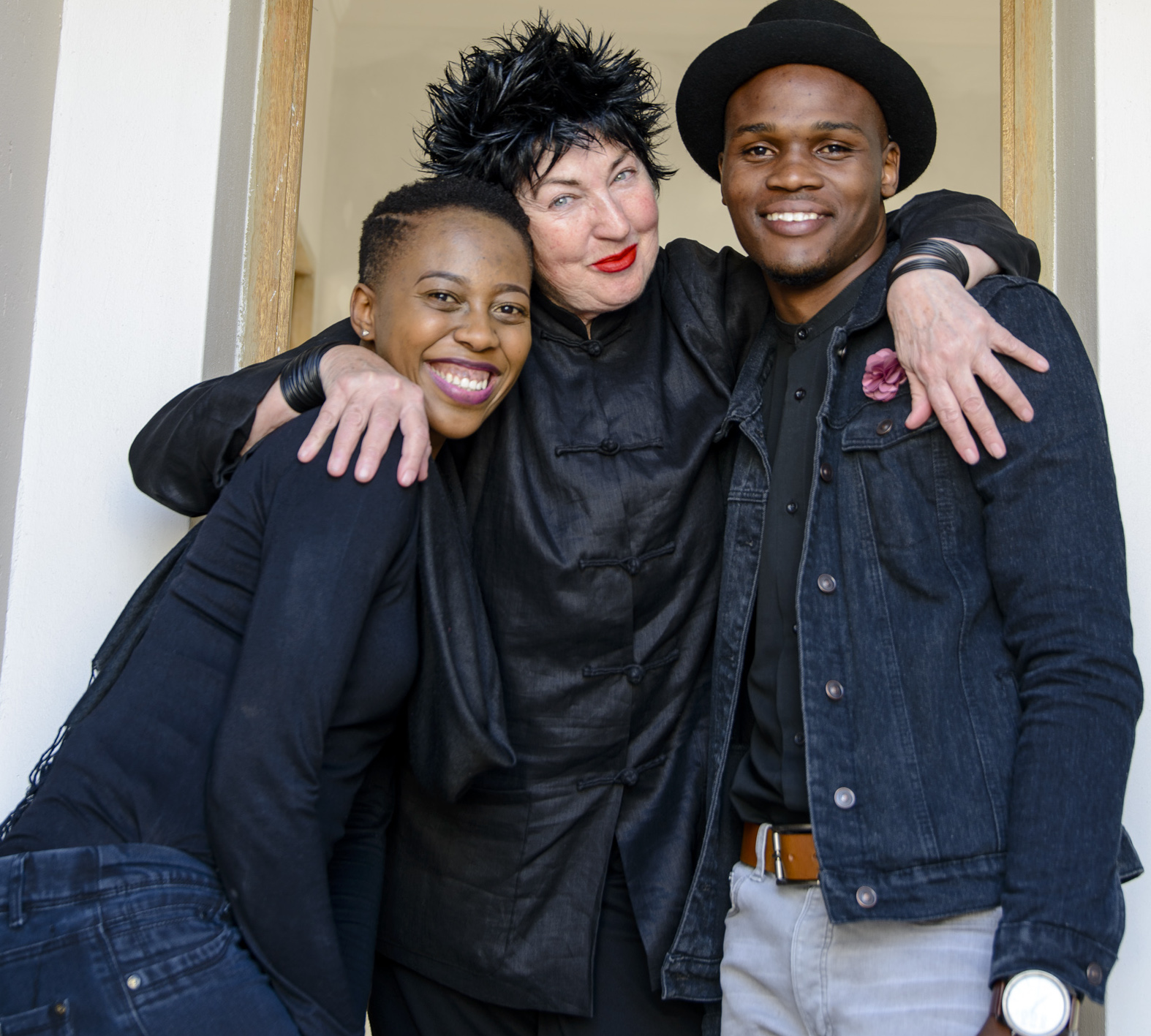 Team Visi - Lesego Masekela (left) and Mpho Designer (right) with their mentor Annemarie Meintjes of VISI copy