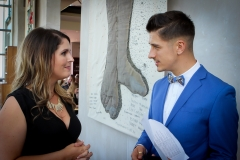 Caesarstone Kitchen of the Year series presenters, Lisa Aspeling and Danilo Acquisto, discussing last minute additions to the MC script before official proceedings begin.